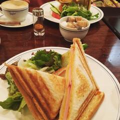 ランチ/ホットプレスサンド/至福のひととき/LIMIAごはんクラブ サンドウィッチ🥪は パンをトーストした方…