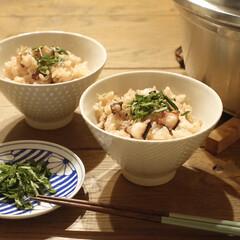 暮らし/晩ご飯/炊き込みごはん/無水鍋のある暮らし/無水鍋/おうちごはん 義父さんが釣ったタコで、今晩はタコ飯を炊…