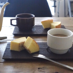 柳宗理 デザートフォーク | 柳宗理(フォーク)を使ったクチコミ「画像だとわからないけど、このバウムクーヘ…」