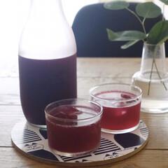 ホルムガード フローラ ベース 12cm ミディアム クリア Holmegaard Flora vase(花瓶、花器)を使ったクチコミ「毎年夏の定番 赤紫蘇シロップを今年も仕込…」