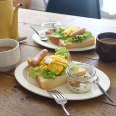 月兔 ホーロースリムポット 0.7L キャメル   月兎印(ヤカン、ケトル)を使ったクチコミ「お気に入りの湯種パンで朝ごはん 今日は焼…」