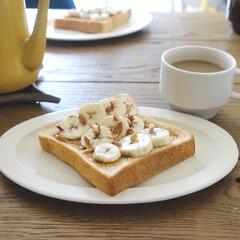 おうちごはんクラブ/リミアな暮らし/朝ごはんレシピ/トーストアレンジ/朝ごはん/キッチン雑貨/... ピーナッツバターにバナナをオン。 最近お…