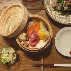 中華せいろ 21cm 蒸し器 和の里 H-5714 | パール金属(その他キッチン家電)を使ったクチコミ「朝昼と野菜不足だったので、夜は温野菜にし…」