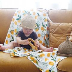 暑さ対策/編み物/帽子/ハンドメイド/麦わら風どんぐり帽子/麦わら帽子/... 母が、夏用にと麦わら帽子を編んでくれまし…