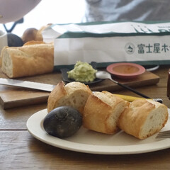 SAKUZAN Sara オーバル ライトブルー 19875(その他キッチン、日用品、文具)を使ったクチコミ「箱根で買ったお土産で朝ごはん 富士屋ホテ…」