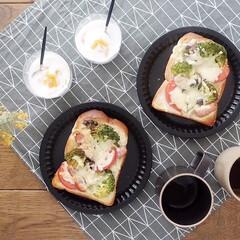 トーストアレンジ/朝ごはんレシピ/器好き/うつわ日和/テーブルコーディネート/リミアな暮らし/... 食パンにブロッコリー、しめじ、ウィンナー…