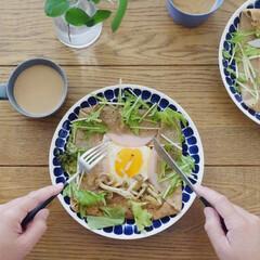 Arabia アラビア 24h Tuokio トゥオキオ プレート 26cm コバルトブルー   24h トゥオキオ(皿)を使ったクチコミ「今朝はピカールの「そば粉のガレット」を初…」
