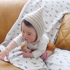 ピクシーハット/ボンネット/手編み帽子/手編み/毛糸の帽子/毛糸/... 母が編んでくれた毛糸の帽子が届きました。…(1枚目)