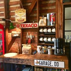 DIY/キッチン/木造倉庫/レンガ/カフェ風/はじめてフォト投稿 ガレージに作ったミニキッチンです。  シ…