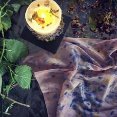 ハーバル染め/ハーブ/草木染め/天然染め/植物染め ロウソクを灯して、妖しきハーバル染め。 …