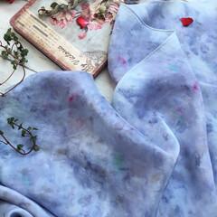 天然染め/花びら染め/ハーバル染め/暮らし お喋りな布たち♡  ハーバル染めの布…