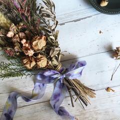 シルクリボン/ハーブ/草木染め/天然染め/ハーバル染め/花びら染め 花嫁のDIYアイテムとして注目されている…