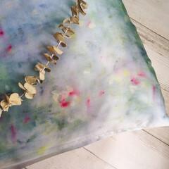 花びら染め/ハーブ/ハーバル染め/天然染め/草木染め ハーバル染めの枕カバー試作完成♫  寝室…