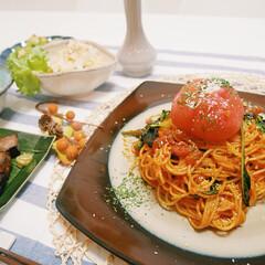 パスタ/手作り/手作りご飯/おかず/晩ご飯/夜ご飯/...   この日のメニューはまるごとトマトのク…