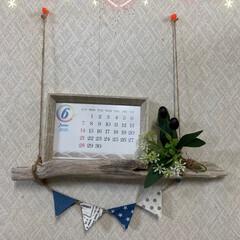 ダイソー/ガーランド/流木でカレンダー飾り/100均/流木 流木でカレンダー飾り💕 家にあった流木に…