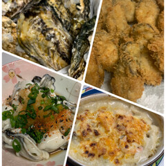 牡蠣づくし献立 牡蠣づくし献立💕 殻付き牡蠣、カキフライ…