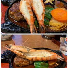 お盆外食/大海老とヘレステーキ/令和の一枚 エビ🦐とステーキ💕 昨夜は近所のお店で外…