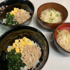 鶏団子/夏の鍋/三色丼/令和の一枚 本日お昼の三色丼💕 鶏そぼろ、炒り卵、ほ…