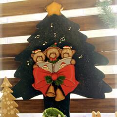 DIY/雑貨/クリスマス/トールペイント/すのこ 出窓に少しだけクリスマス雑貨を並べてみま…