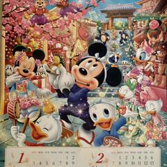 寒い元日/2021年 隠れミッキーカレンダー/今年もよろしくお願いします🤲 2021年 隠れミッキーカレンダー💕 明…