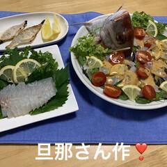 鯛の塩焼き/鯛のお刺身/鯛のカルパッチョ/太刀魚/鯛/ミッキー こんばんは🌆  昨日旦那さんが魚釣り🎣へ…