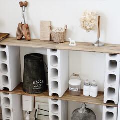 ダイソー/100均/古材風リメイク/家具/DIY/ペイント/... ダイソーの工作木材と 発泡スチロールブロ…