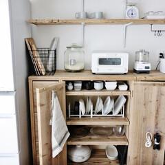 キッチン/食器/食器収納/断捨離/ディッシュラック/立て収納/... 食器収納の見直しをしました。 ずっと気に…