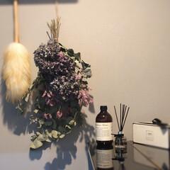 ウールダスター はたき LLサイズ 羊毛 高いところに便利 ふわふわの毛がほこりをしっかり落とします 箒 掃 p1(ほうき、はたき)を使ったクチコミ「お気に入りがつまった場所(LDK)」