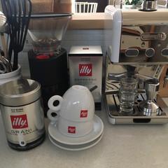 イリー/エスプレッソマシン/キッチン/キッチン雑貨/インテリア 我が家のカフェコーナー。 毎日美味しいカ…