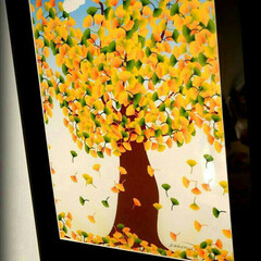 イラスト/絵/インテリア/風景/紅葉/ハンドメイド/... 銀杏の木、word で描きました。葉っぱ…