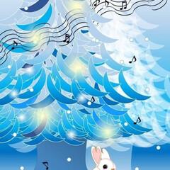 コンサート/フジコ・ヘミング/癒し/雪/うさぎ/クリスマスツリー/... 青いクリスマスツリー・・・Word絵 b…