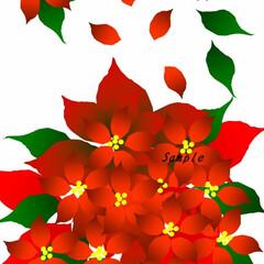 クリスマス/ポインセチア/赤/植物/緑/花/... 燃える~♪ポインセチア、Word絵を描き…