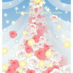 クリスマスツリー/絵/フォロー大歓迎/ハンドメイド/インテリア/クリスマス/... 息子夫婦の結婚のお祝いに描いた薔薇🌹のツ…