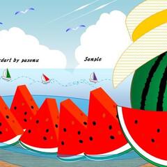 海水浴/海の家/西瓜/西瓜割り/麦藁帽子/夏休み/... 夏はやっぱり西瓜! 海で泳いで遊んで西瓜…