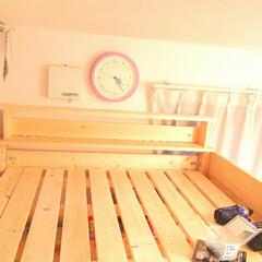 デスク/ぬいぐるみ収納/まだ途中/ベッド/自作/階段型/... ロフトベッドの制作中です。  いまいち投…(3枚目)