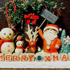 ライトアップ/クリスマス/紙粘土/リミアの冬暮らし/ハンドメイド 去年?一昨年に作った紙粘土クリスマスオブ…