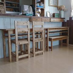 ダイニング/DIY/インテリア/ダイニングテーブル/ダイニングチェア/椅子 /... ダイニングテーブルと椅子2脚、ベンチを作…