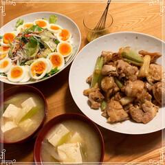 夜ごはん 最近の夕飯 昨日はサラダの野菜が足りずコ…(1枚目)