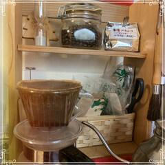 妄想カフェ/朝/コーヒーコーナー 妄想カフェ☕️ 日課のコーヒータイム🖤