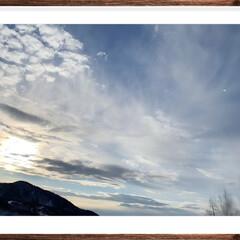 ナイスビュー/山/冬/風景 雪山からの夕日