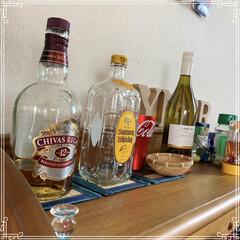 お酒コーナー/模様替え/ハイボール お酒コーナーを作りました。 ウチはメタボ…