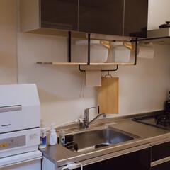 カインズホーム/アカシア集成材/水切り棚/賃貸DIY 賃貸の無機質な水切り棚を取り外し、ラック…