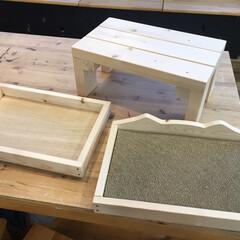 お手軽DIY/プチプラ/1×4材/爪とぎケース/DIY 奥はジャンボエンチョーのDIY教室にてワ…