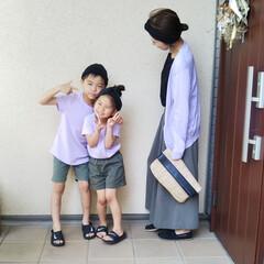ヘアターバン 前止めタイプ ピンク(その他ヘアケア)を使ったクチコミ「カーキ×パープルの色合わせで息子と娘と楽…」