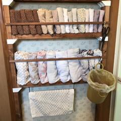 バスマット掛け/タオル収納棚/暮らし/DIY/100均/D IY収納 脱衣室の床が、濡れたままにならないように…