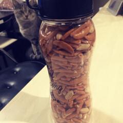 お菓子/100均/セリア セリアの水筒に柿ピー お徳用柿ピーは封を…