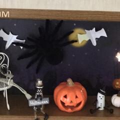 飾り棚/ハロウィンディスプレイ/住まい/暮らし 部屋の飾り棚 ハロウィンに変えました ガ…