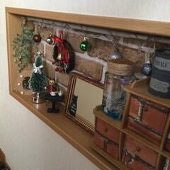 百均/クリスマス飾り/暮らし/住まい おはよう御座います もう一つの玄関飾り棚…