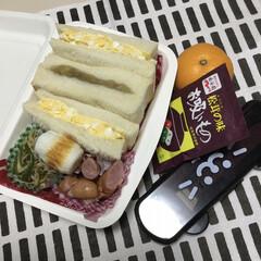 栗きんとん/お弁当/百均/住まい/暮らし 娘の今日のお弁当 二回目のサンドイッチ弁…