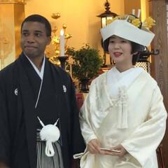 国際結婚/和装 日蓮正宗 立正山 本行寺にて結婚式をして…